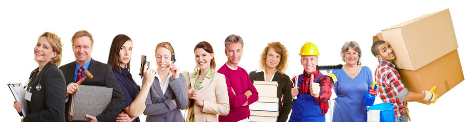 Gruppe aus unterschiedlichen Berufen