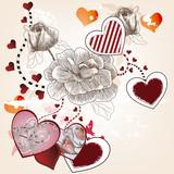 cartolina di san valentino con rose e cuori