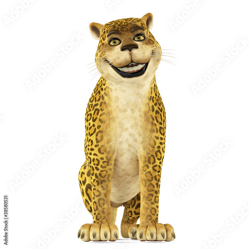 leopard cartoon smiling