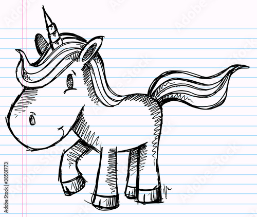 Notebook Doodle Sketch Unicorn Pony Vector