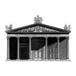 Engraving vintage Roman temple.