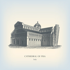 Engraving vintage Cathedral of Pisa.