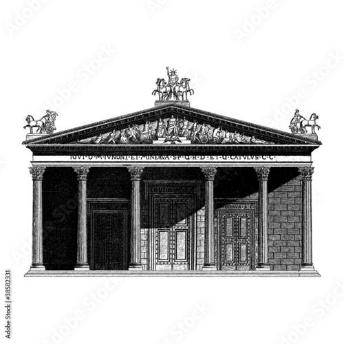 Fototapeta Engraving vintage Roman temple.