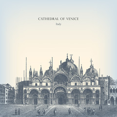 Engraving vintage Cathedral of Venice.