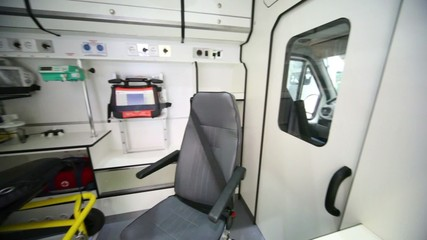 Ambulances compartment with modern equipment