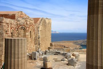 Greece, Rhodes, Acropolis, temple ruins