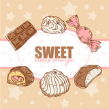 Retro card with tasty sweets
