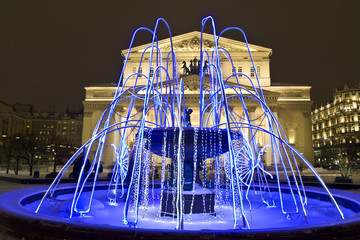 Moscow, Big (Bolshoy) theatre and electric fountain