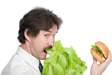 Man prefers salad instead of hamburger