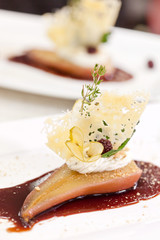 poached pear with red wine and spice