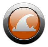 "Orange Metallic Orb Button ""Tsunami"""