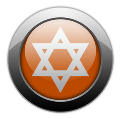 "Orange Metallic Orb Button ""Star Of David"""