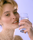 Woman with Dry Skin Drinking Water 02