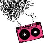 Fototapety Audiocassette tape with tangled. Vector illustration.