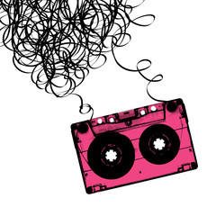 Audiocassette tape with tangled. Vector illustration.