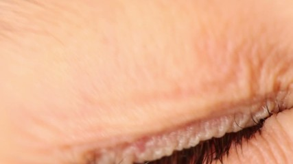 Single eye closeup, eyelid lifts and pupil expands