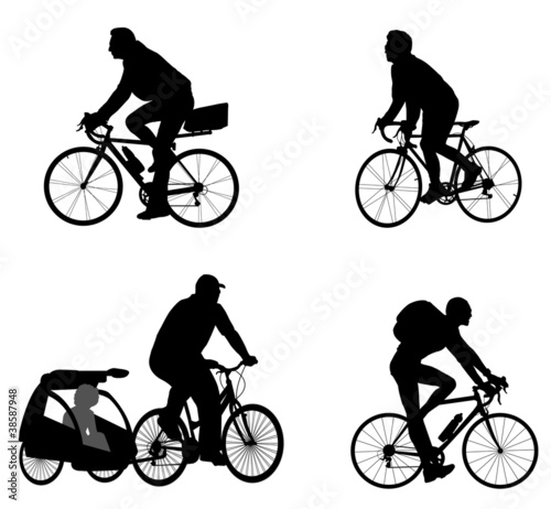 bicyclists silhouettes