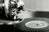 vintage phonograph close up shot with shallow depth of field