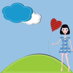 vector illustration girl and hearts  against a blue sky and clou