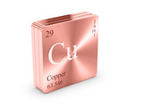 Copper - element of the periodic table on copper block