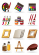 Painting materials  and tools for artists icons set