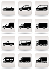 Road transport icons set - vector illustration