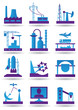Plants for light and heavy industry - vector illustration