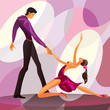 Couple dancers in romantic scene - vector illustration