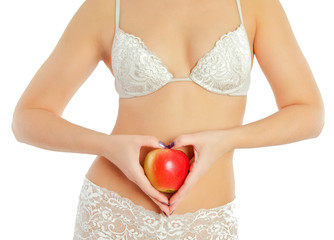 female body and red apple