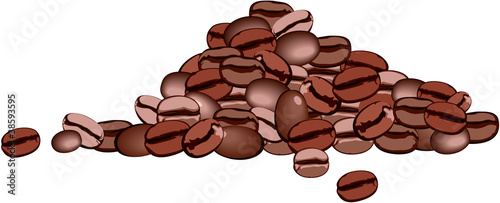 a handful of coffee beans on white background