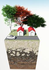 Spaccato terreno casa alberi strada macchina