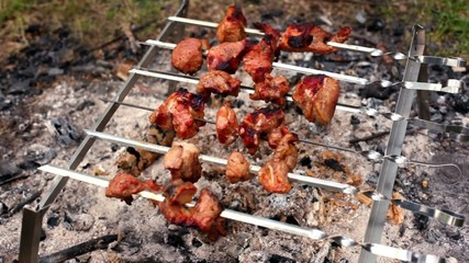 Skewers with kebab on embers
