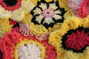 Crochet Flowers Fabric