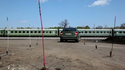 Automobile ride backward on drive lesson