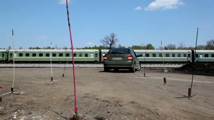 Car ride backward on drive lesson, driver make mistake