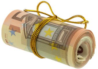 emballage cadeau rouleau billets 50 euros
