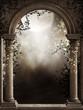 Gotyckie okno z ciemnym bluszczem