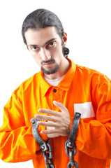 Convicted criminal on white background
