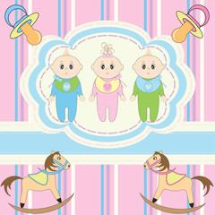Greeting card for babies triplets