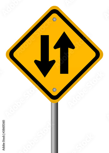 Two way road sign, vector illustration