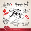 Set of Valentine's calligraphic headlines. Vector illustration.