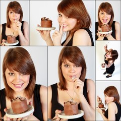 Vignette femme et gâteau chocolat