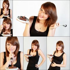 Vignettes femme et gâteau chocolat