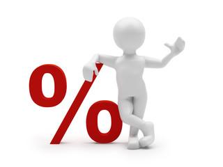 Mann mit Prozentzeichen