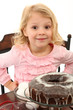 Young Preschool Girl at Table with Cake