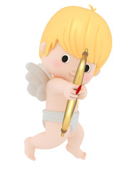 3D render of cupid with bow and arrow