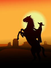 Hero of wildwest go in sunset