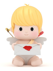 3D render of cupid with holding a love letter