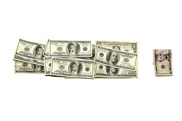 знак восклицания из банкнот долларов