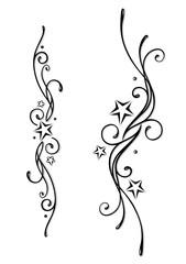 Tattoo, Tribal, Sterne, stars, vector set, black & grey